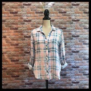 Anthro Cloth & Stone Bleached Plaid ButtonUp Shirt